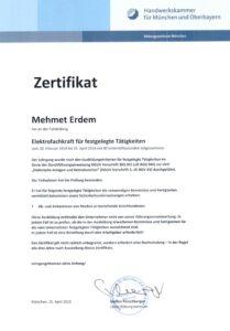 Zertifikat-Elektrofachkraft